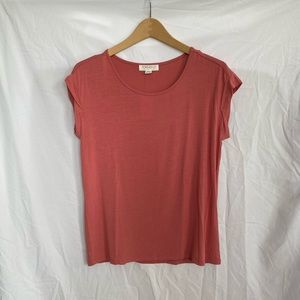 Forever 21 Pink Basic Cap Sleeves Relaxed T-Shirt